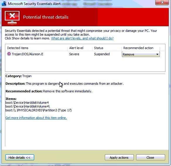 Permanently Remove Trojan:DOS/Alureon.E Virus From Win 7, Vista or