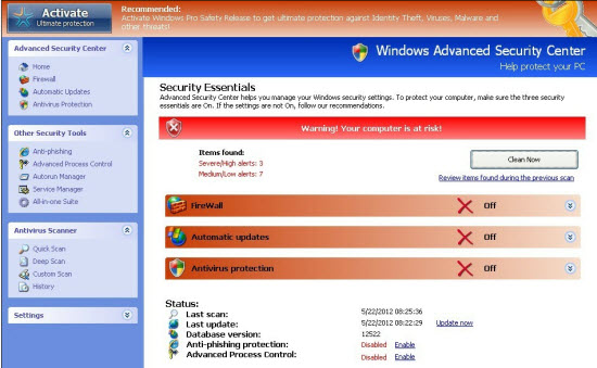 Fake Windows Advanced Security Center Virus Removal Guide