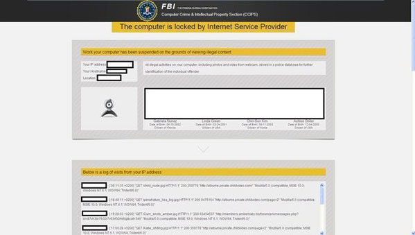 FBI The computer is locked by Internet Service Provider