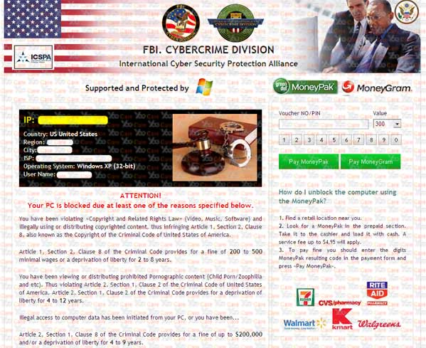 New FBI MoneyPak Virus (FBI Virus Scam $300, All Activities of this