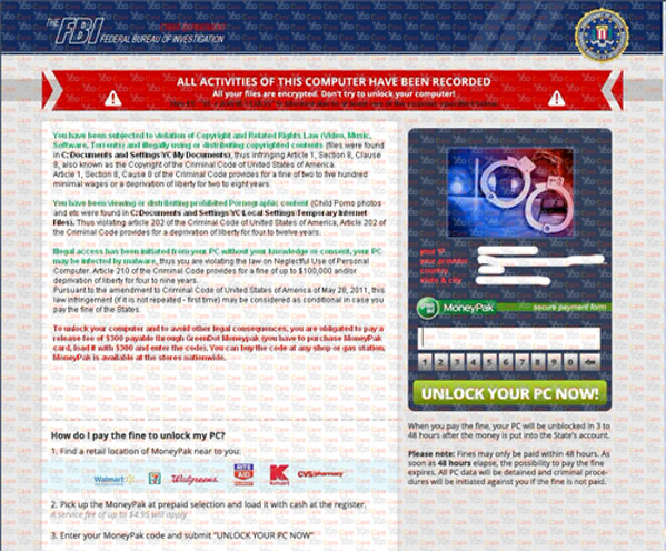 Symptoms of Fake FBI Moneypak Scam Virus Asking 300 or 200 Dollars