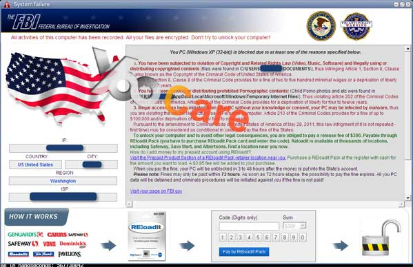 System Failure FBI Virus