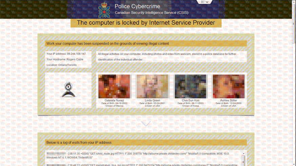 Police Cybercrime Virus in Canada - CSIS virus