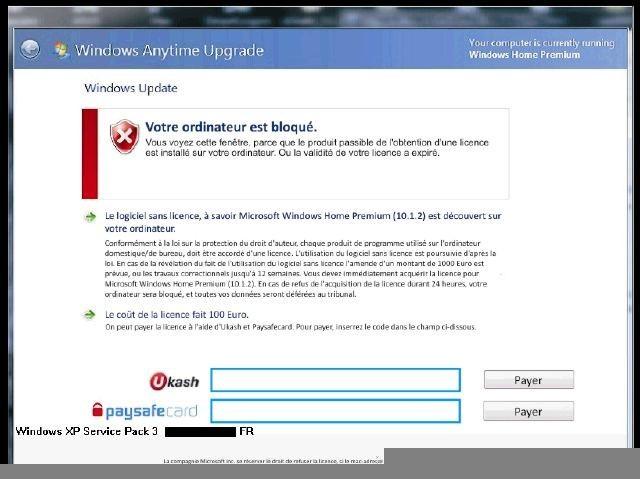 """Locked by """"Sur votre ordinateur est infecté""""? Ransomware"""