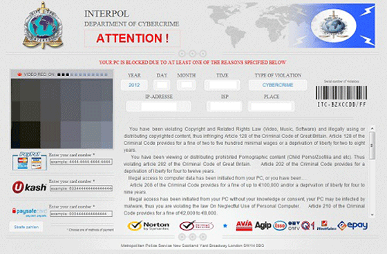 Interpol Department of Cybercrime Ukash/Paysafecard Virus Screenshot