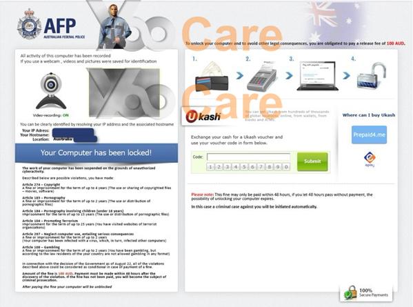 Australian Federal Police Ukash Virus (AFP) October
