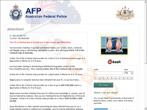 Australian Federal Police Ukash Virus (AFP) First Version
