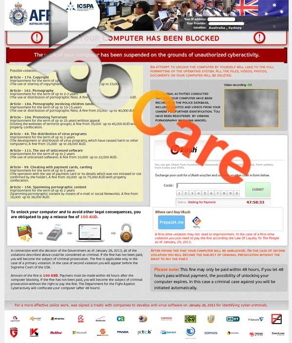 Reveton-AU Australian Federal Police Ukash Virus