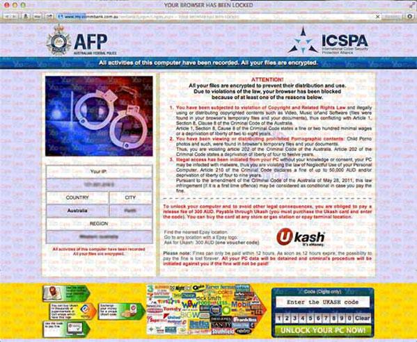AFP Ukash virus locked browser on MAC