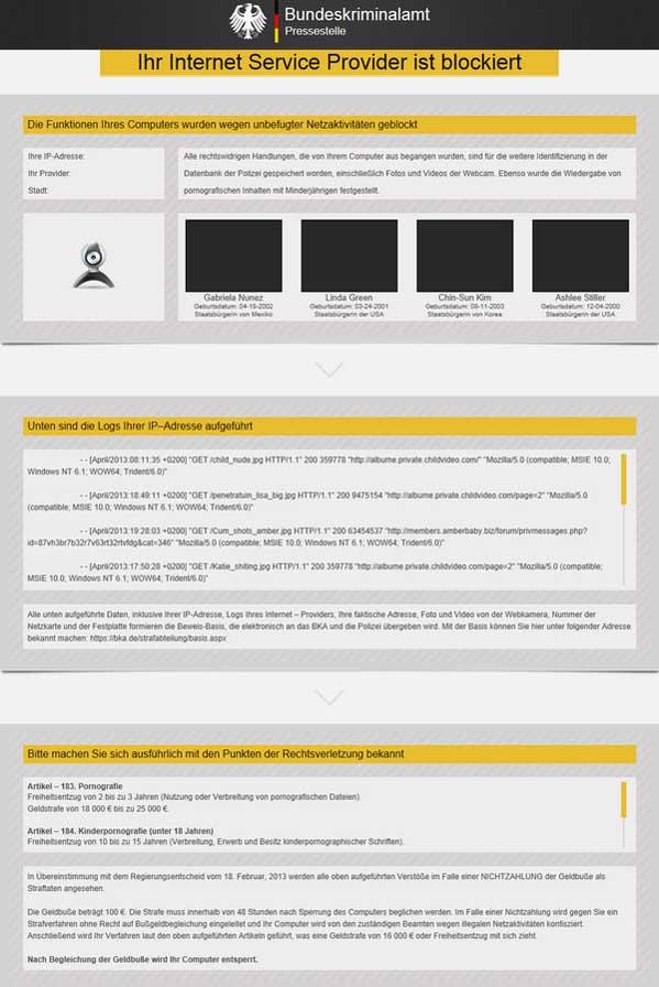 Germany Scam Bundeskriminalamt Ihr-Internet-Service-Provider-ist-blockiert-B
