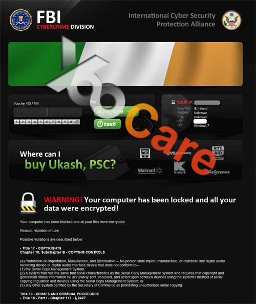 Ireland FBI CyberCrime Division ICSPA Virus Scam