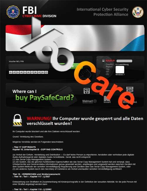 Luxembourg FBI CyberCrime Division ICSPA Virus Scam