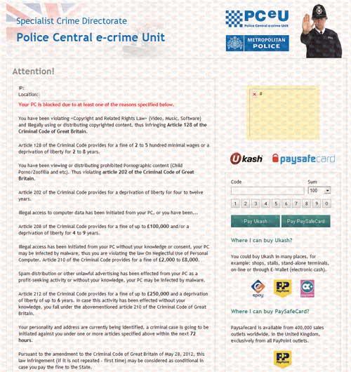 PCeU Virus Ukash Scam-2012.08-A