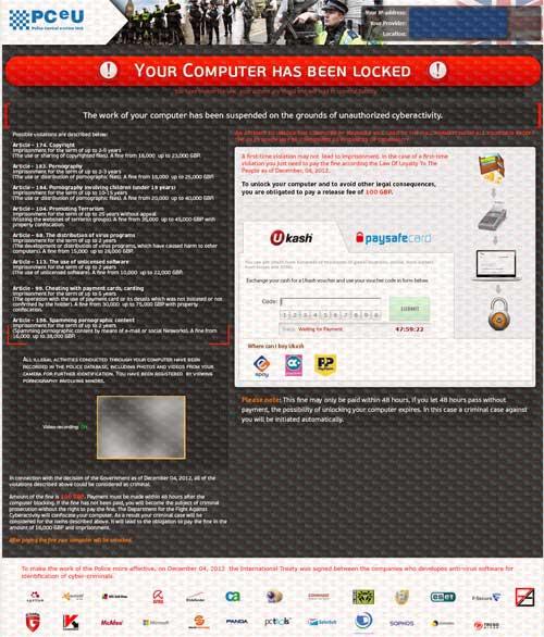 PCeU Virus Ukash Scam-2012.12