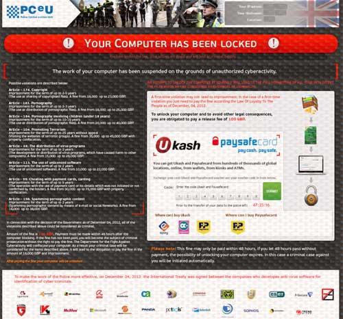 PCeU Virus Ukash Scam-2013.01-B
