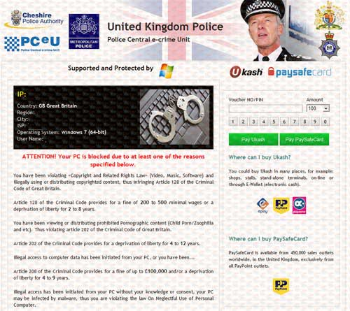 Police Central e-crime Unit) – Cheshire Police Authority Ukash Scam