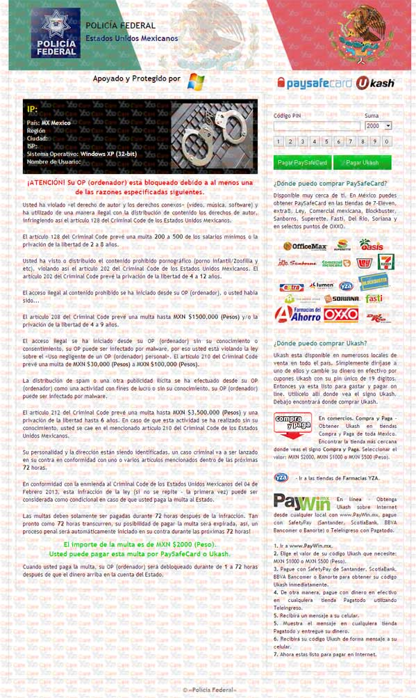 Policia-Federal-Ukash-Virus-(Mexico)