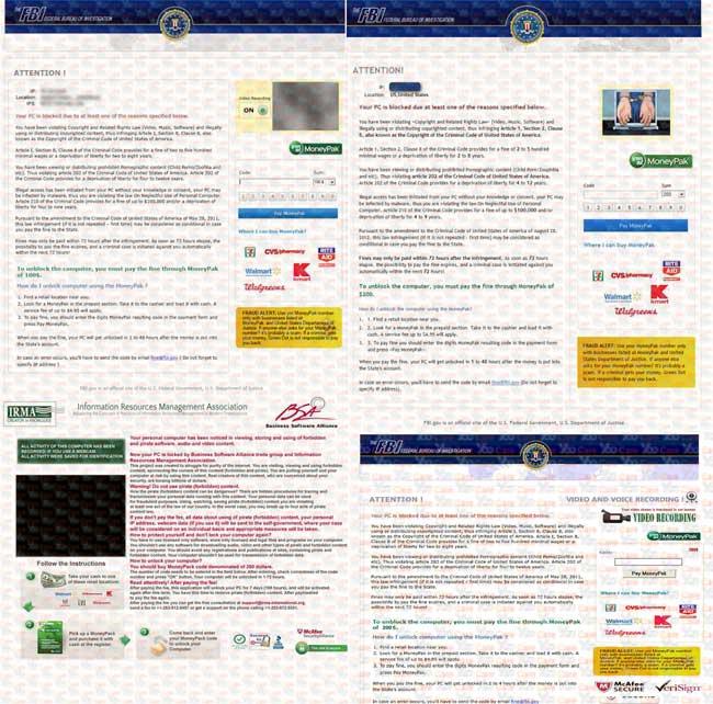 FBI virus $100 $200 $250 $300