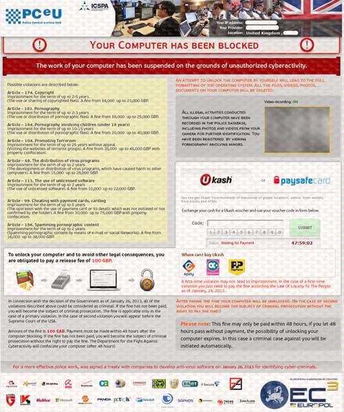 PCeU-Virus-Ukash-Scam-Your Computer Has Been Blocked