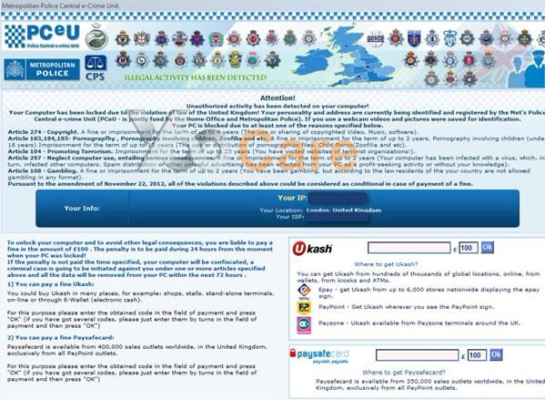 Metropolitan Police Ukash scam