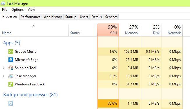 100 percent cpu usage windows 10
