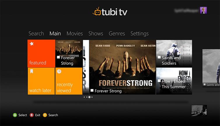 """Résultat de recherche d'images pour """"tubi tv application interface"""""""