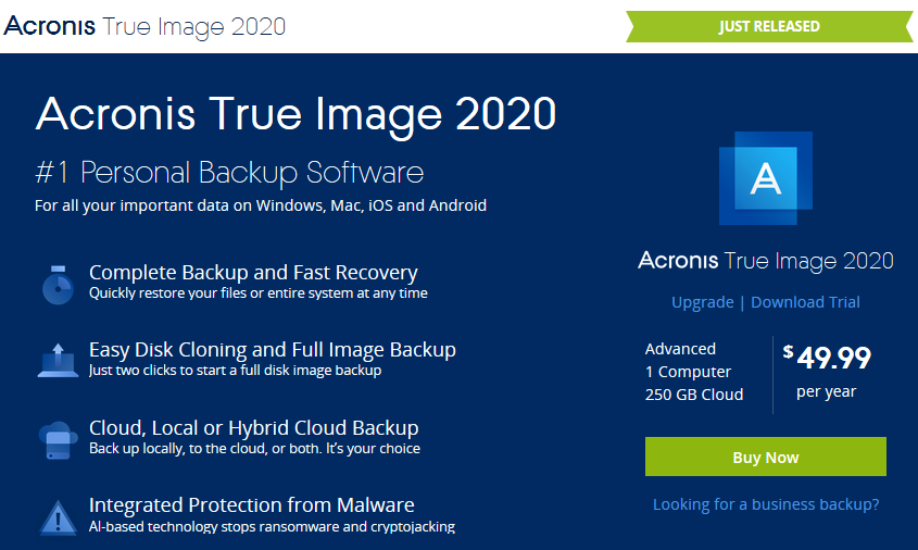 Acronis True Image 2020 Cyber Protection | Upgrade Coupon Code